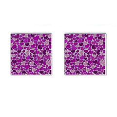 Sparkling Hearts Purple Cufflinks (Square)