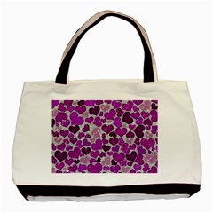 Sparkling Hearts Purple Basic Tote Bag