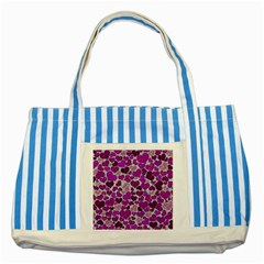 Sparkling Hearts Purple Striped Blue Tote Bag