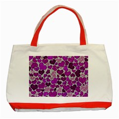 Sparkling Hearts Purple Classic Tote Bag (Red)