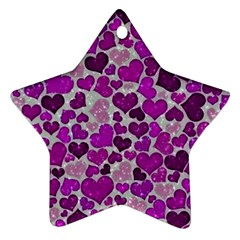 Sparkling Hearts Purple Star Ornament (Two Sides)
