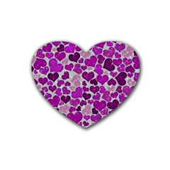 Sparkling Hearts Purple Rubber Coaster (Heart)