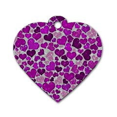 Sparkling Hearts Purple Dog Tag Heart (Two Sides)