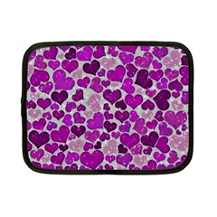 Sparkling Hearts Purple Netbook Case (Small)