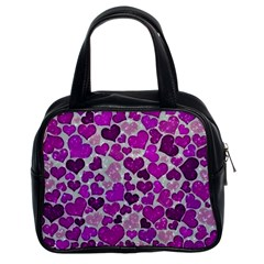Sparkling Hearts Purple Classic Handbags (2 Sides)