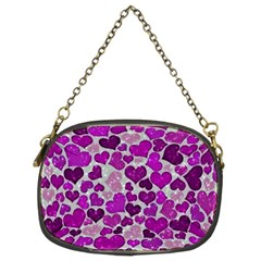 Sparkling Hearts Purple Chain Purses (Two Sides)