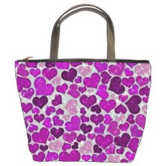 Sparkling Hearts Purple Bucket Bags
