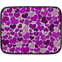 Sparkling Hearts Purple Double Sided Fleece Blanket (Mini)