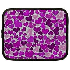 Sparkling Hearts Purple Netbook Case (XXL)