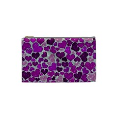 Sparkling Hearts Purple Cosmetic Bag (Small)