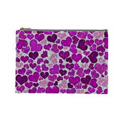 Sparkling Hearts Purple Cosmetic Bag (Large)