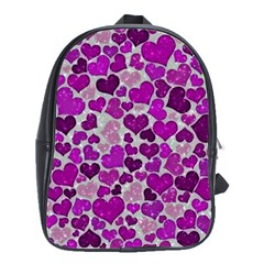 Sparkling Hearts Purple School Bags(Large)