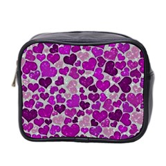 Sparkling Hearts Purple Mini Toiletries Bag 2-Side
