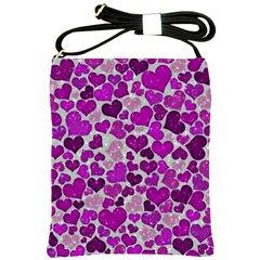 Sparkling Hearts Purple Shoulder Sling Bags