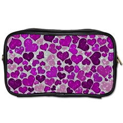 Sparkling Hearts Purple Toiletries Bags 2-Side