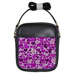 Sparkling Hearts Purple Girls Sling Bags