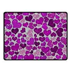 Sparkling Hearts Purple Fleece Blanket (Small)