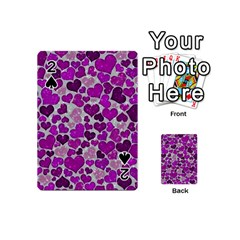 Sparkling Hearts Purple Playing Cards 54 (Mini)