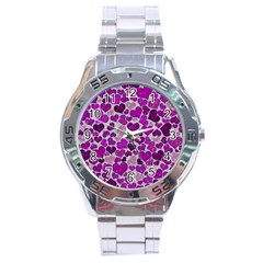 Sparkling Hearts Purple Stainless Steel Men s Watch