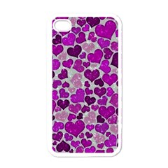 Sparkling Hearts Purple Apple iPhone 4 Case (White)