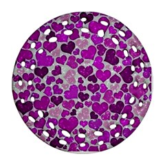 Sparkling Hearts Purple Ornament (Round Filigree)