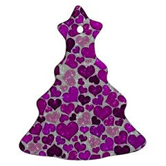 Sparkling Hearts Purple Christmas Tree Ornament (2 Sides)