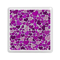 Sparkling Hearts Purple Memory Card Reader (square)