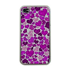 Sparkling Hearts Purple Apple iPhone 4 Case (Clear)