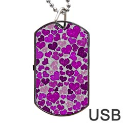 Sparkling Hearts Purple Dog Tag USB Flash (One Side)