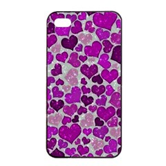 Sparkling Hearts Purple Apple iPhone 4/4s Seamless Case (Black)