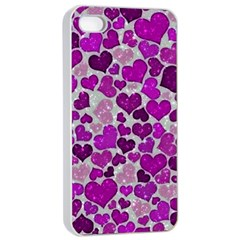 Sparkling Hearts Purple Apple iPhone 4/4s Seamless Case (White)