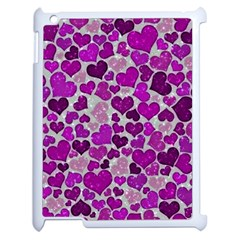Sparkling Hearts Purple Apple iPad 2 Case (White)