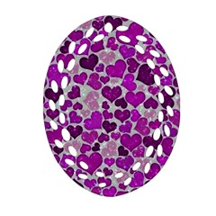 Sparkling Hearts Purple Oval Filigree Ornament (2-Side)