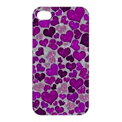 Sparkling Hearts Purple Apple iPhone 4/4S Hardshell Case