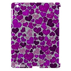 Sparkling Hearts Purple Apple iPad 3/4 Hardshell Case (Compatible with Smart Cover)