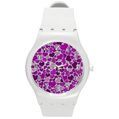 Sparkling Hearts Purple Round Plastic Sport Watch (M)