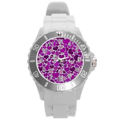 Sparkling Hearts Purple Round Plastic Sport Watch (L)