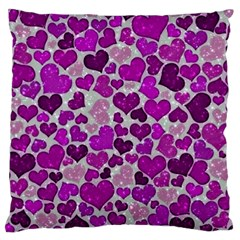 Sparkling Hearts Purple Large Cushion Cases (Two Sides)