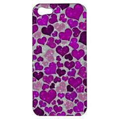 Sparkling Hearts Purple Apple iPhone 5 Hardshell Case
