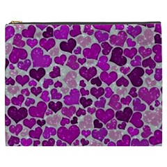 Sparkling Hearts Purple Cosmetic Bag (XXXL)