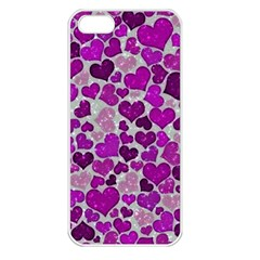 Sparkling Hearts Purple Apple iPhone 5 Seamless Case (White)