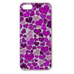 Sparkling Hearts Purple Apple Seamless iPhone 5 Case (Clear)