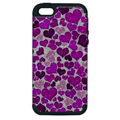 Sparkling Hearts Purple Apple iPhone 5 Hardshell Case (PC+Silicone)