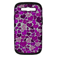 Sparkling Hearts Purple Samsung Galaxy S III Hardshell Case (PC+Silicone)