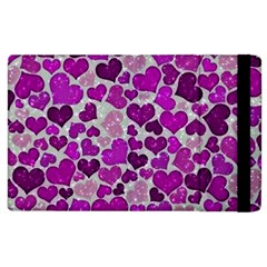 Sparkling Hearts Purple Apple iPad 2 Flip Case