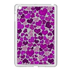 Sparkling Hearts Purple Apple iPad Mini Case (White)