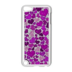 Sparkling Hearts Purple Apple iPod Touch 5 Case (White)
