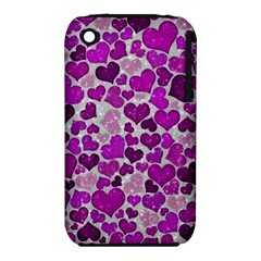 Sparkling Hearts Purple Apple iPhone 3G/3GS Hardshell Case (PC+Silicone)