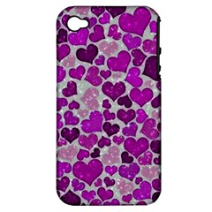 Sparkling Hearts Purple Apple iPhone 4/4S Hardshell Case (PC+Silicone)