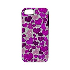Sparkling Hearts Purple Apple iPhone 5 Classic Hardshell Case (PC+Silicone)